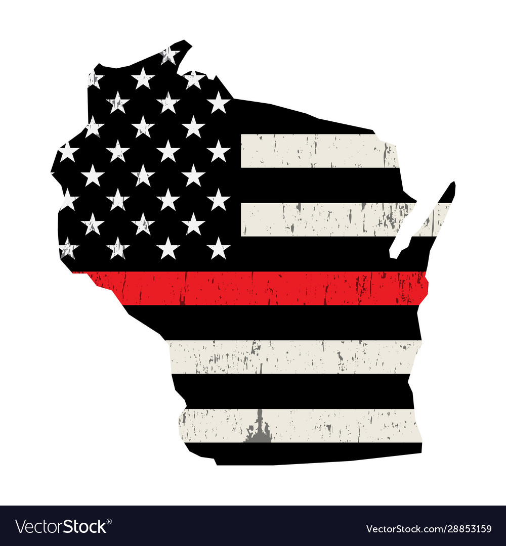 State wisconsin firefighter support flag