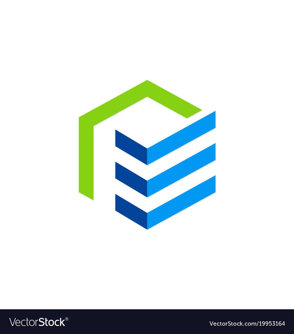 Building construction shape company logo