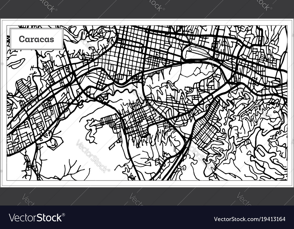 Caracas venezuela city map in black and white Vector Image on