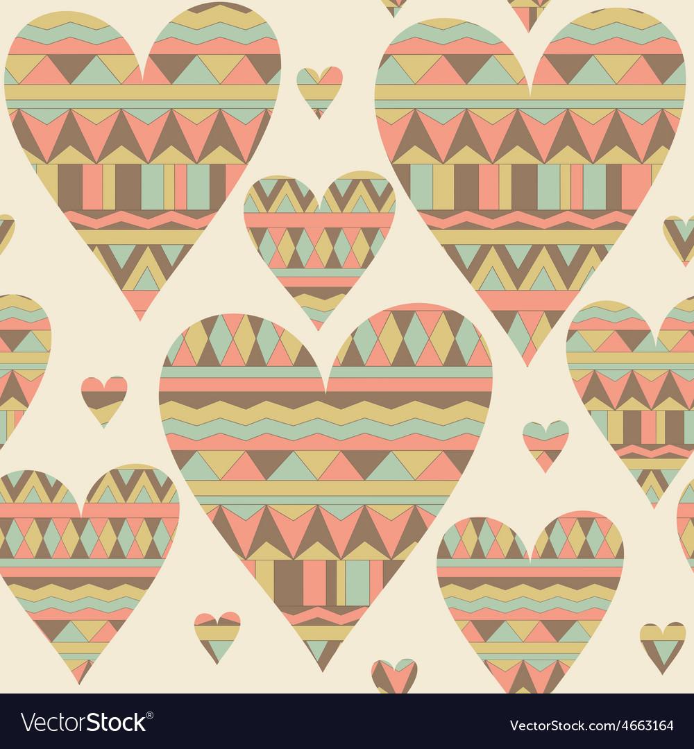 Cartoon hearts seamless pattern Tribal style