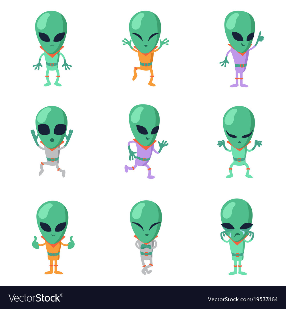 funny cartoon aliens green humanoid royalty free vector rh vectorstock com green alien cartoon nickelodeon green alien cartoon character