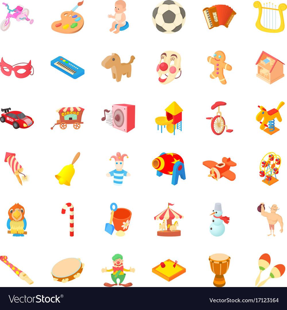 Funny icons set cartoon style