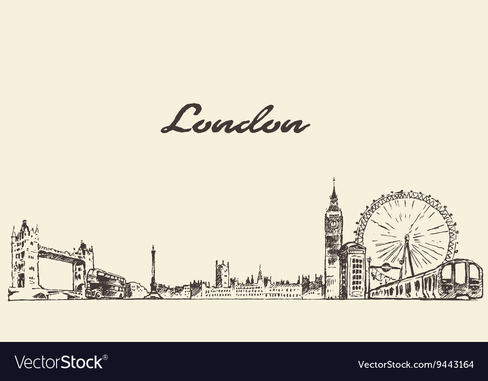 London skyline hand drawn engraved sketch vector image
