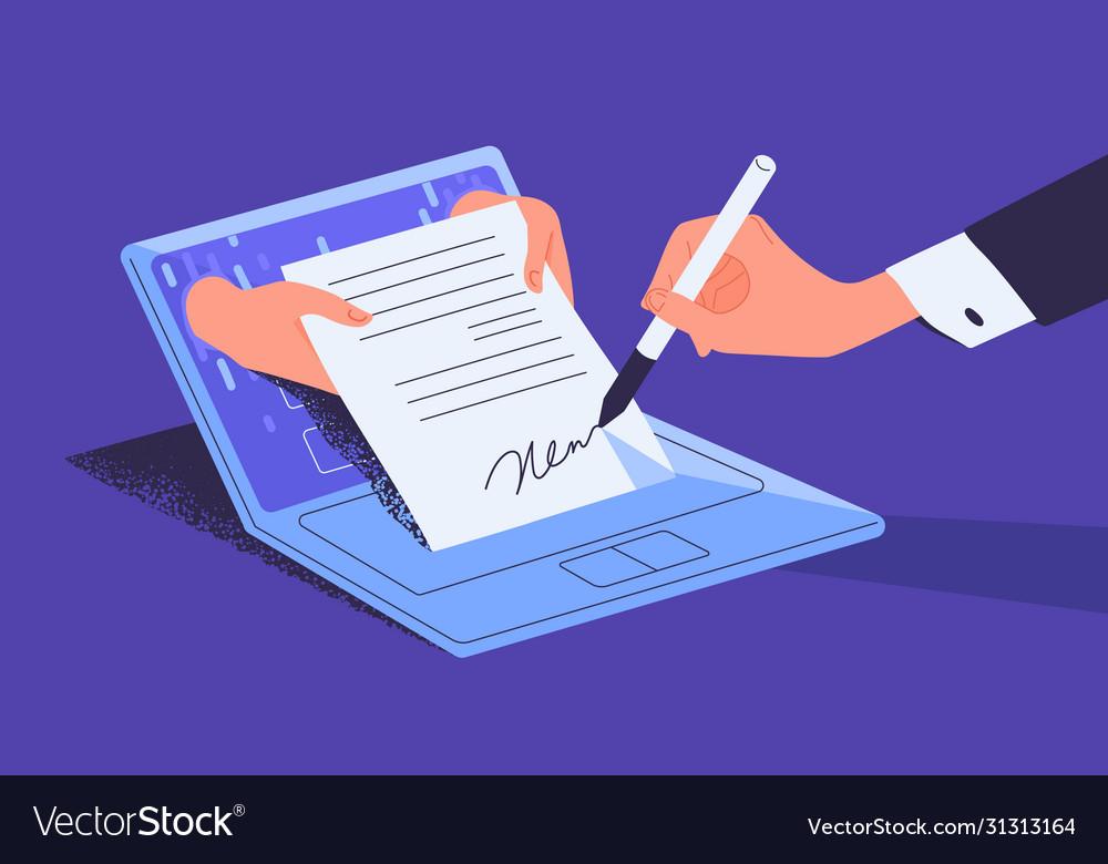 Man putting esignature into legal document