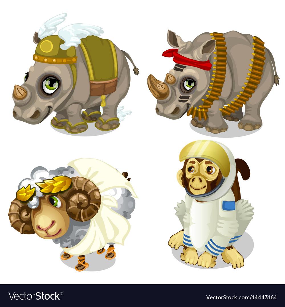 Military rhinoceros sheep and monkey cosmonaut vector image