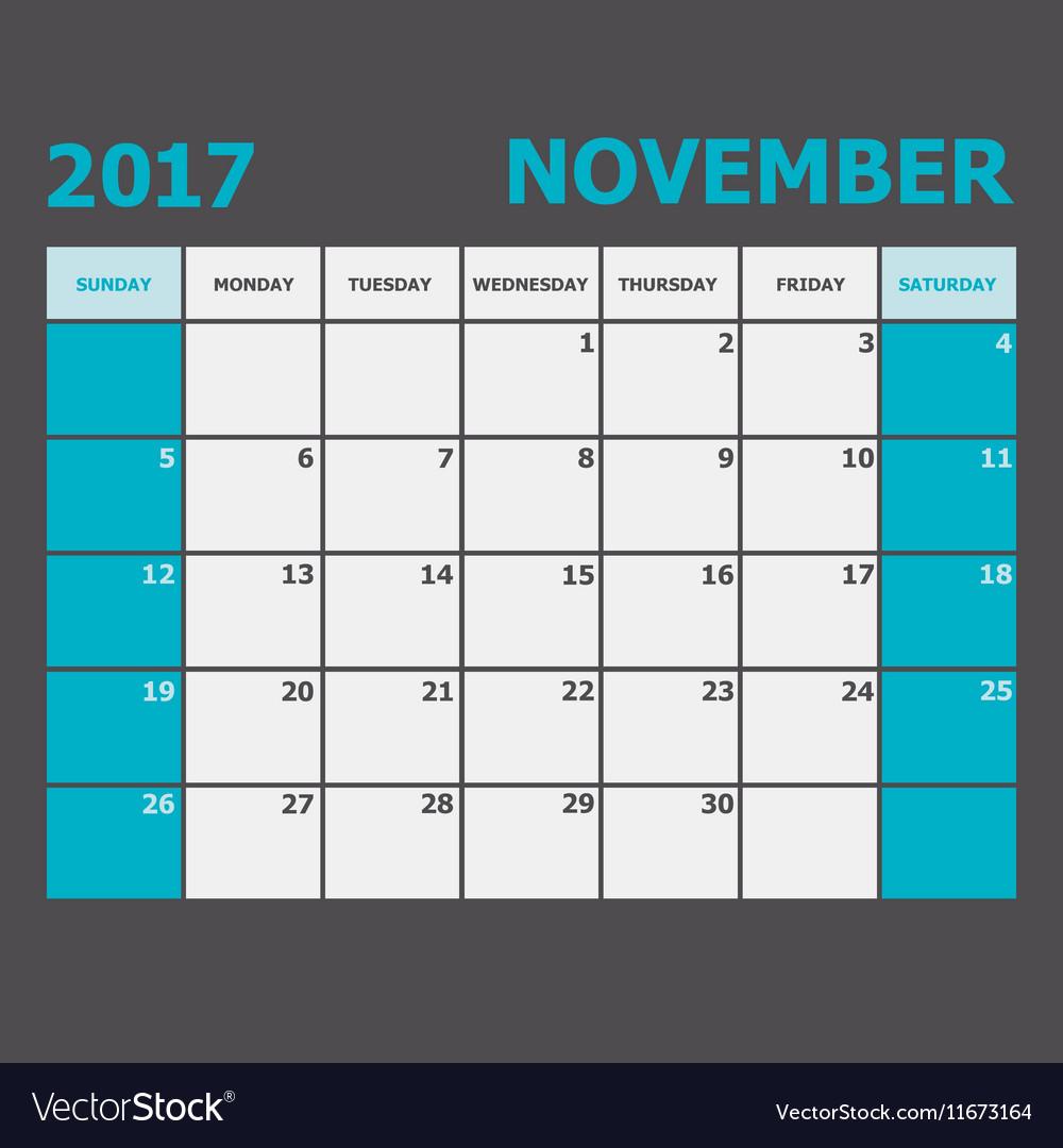November 2017 November calendar week starts on