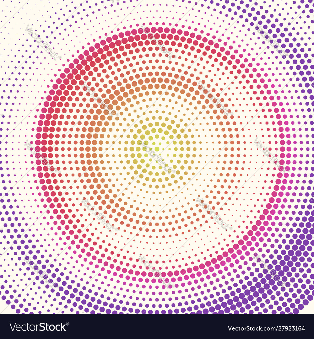 Radial halftone pattern from colored dots retro