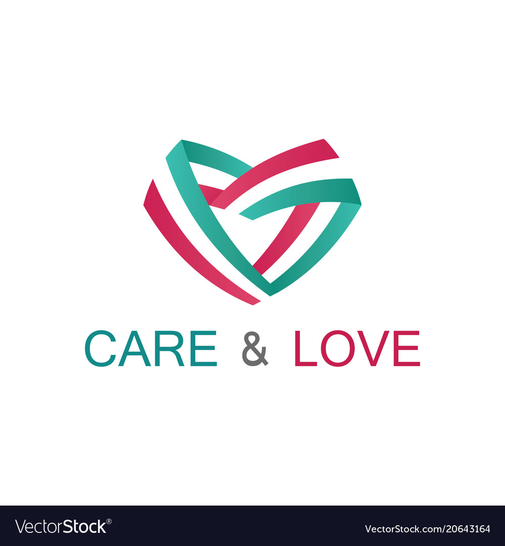 Ribbon care and love logo vector image