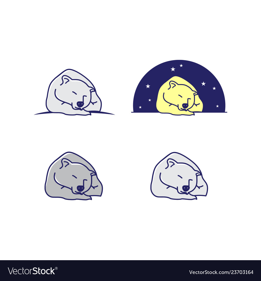 Set of cartoon line art sleeping bear