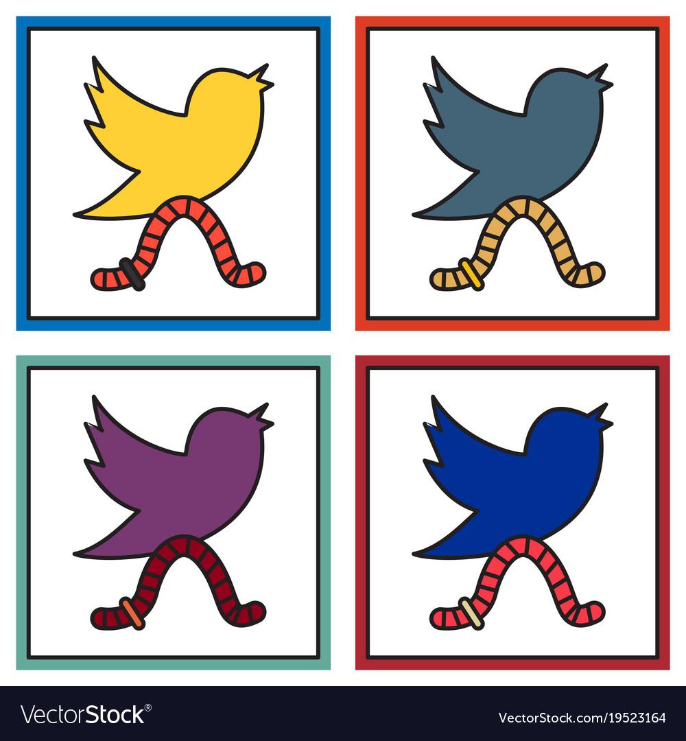 Set of unusual look tweet bird logotwitter icon
