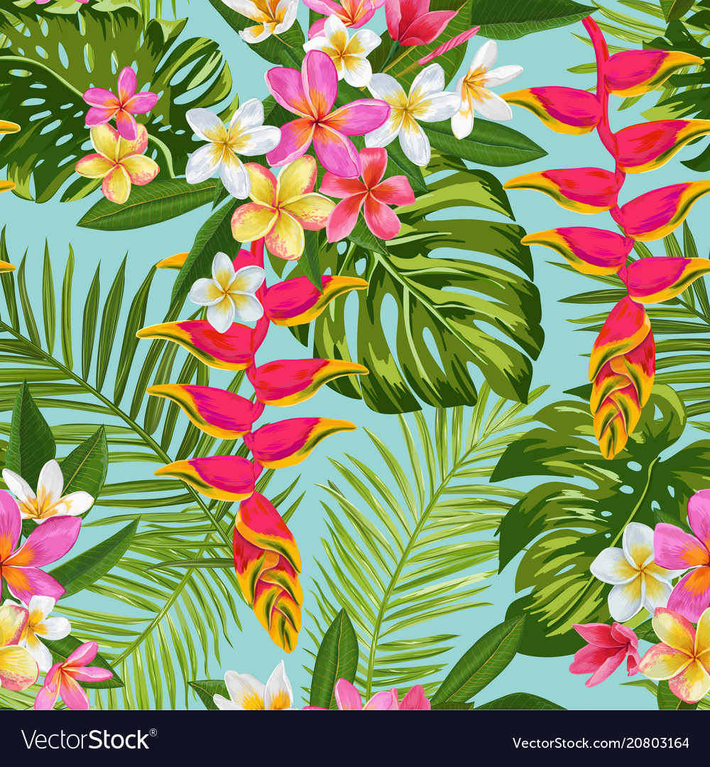Tropical flowers and palm leaves seamless pattern
