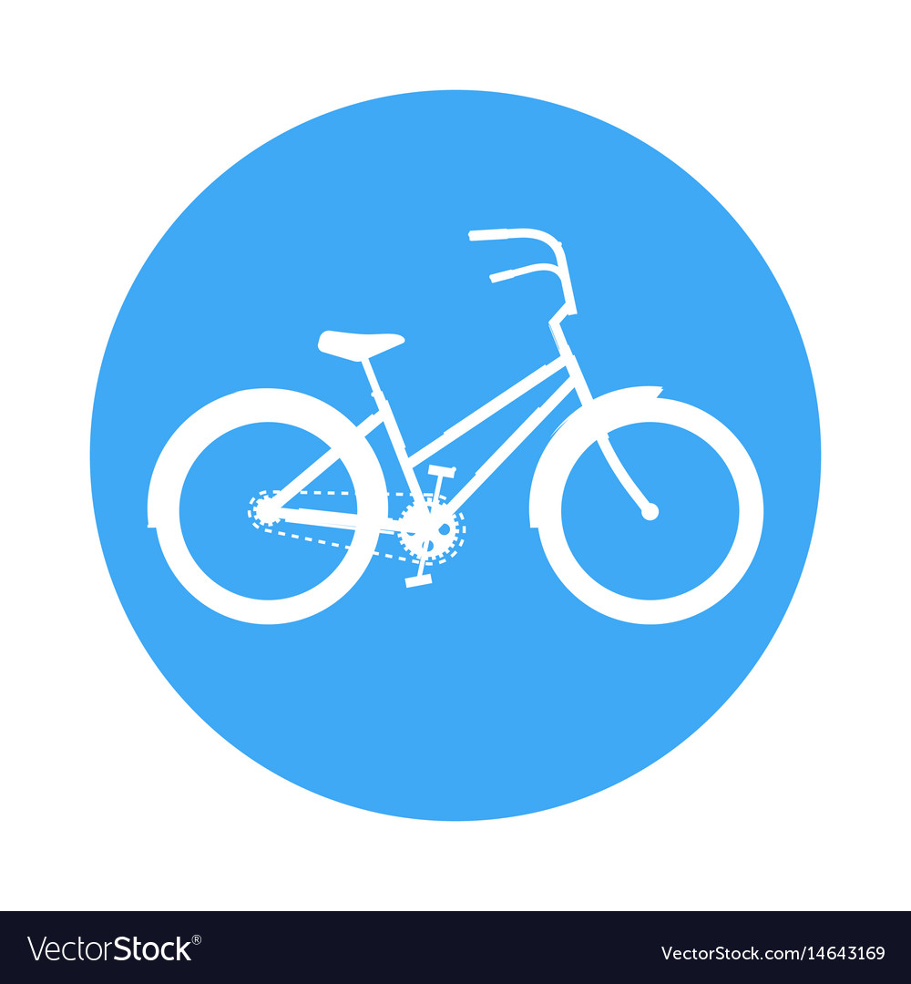 Bicycle icon in the style of a road sign blue