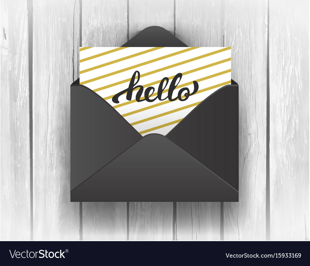 Black opened envelope with hello lettering on