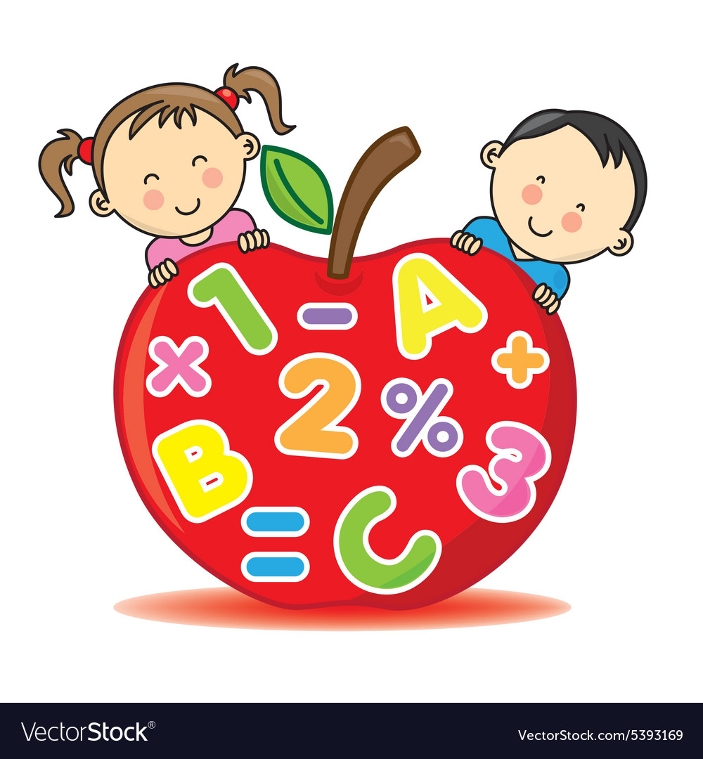 Children with an apple that contains numbers and l