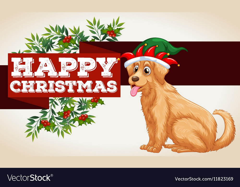 Christmas card template with dog and mistletoes Vector Image