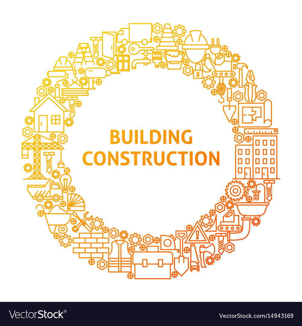 Construction line icon circle concept vector image