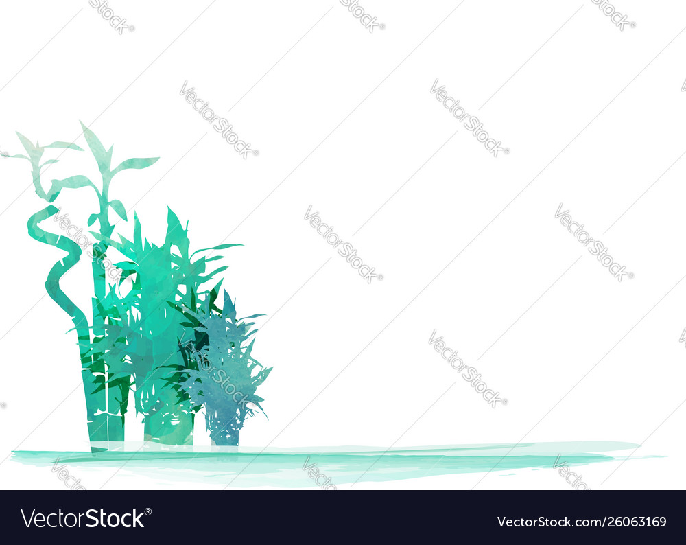 Green organic bamboo plant horizontal background vector