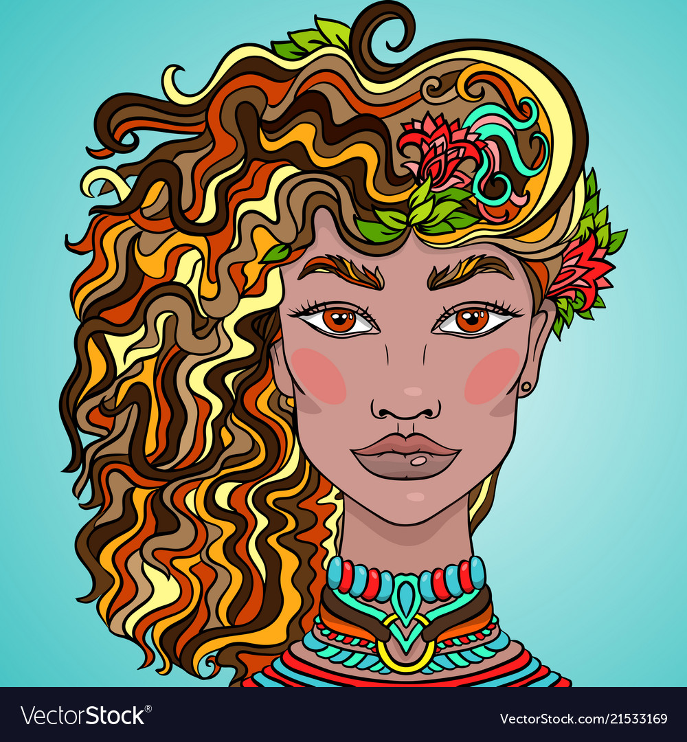 Hand drawn doodle girls face beautiful women with