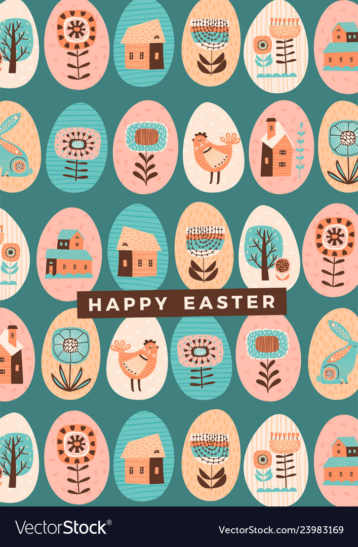 Happy easter template for card poster
