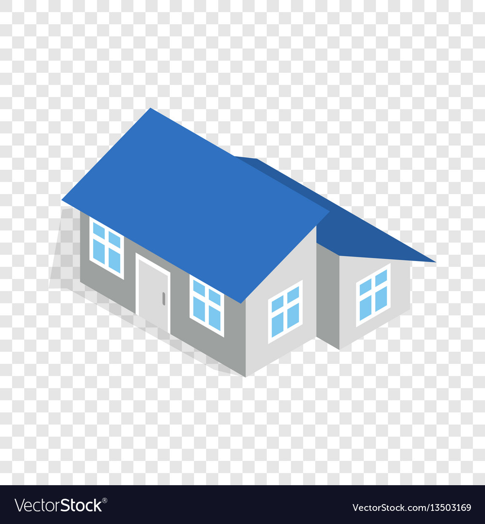 House with annexe isometric icon