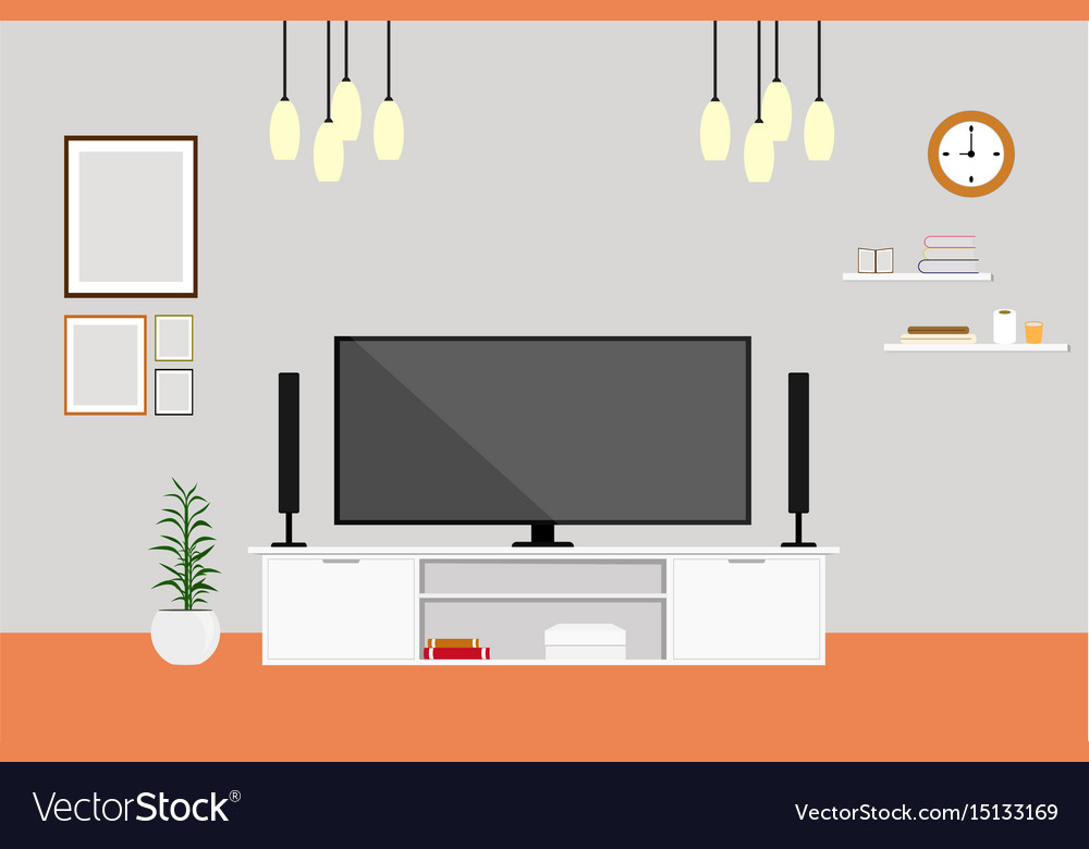Living Room With Tv Modern Design Home Set Vector Image