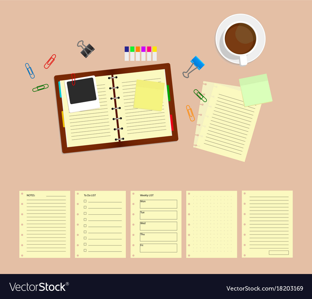 Office desk table with notebooks and coffee cup
