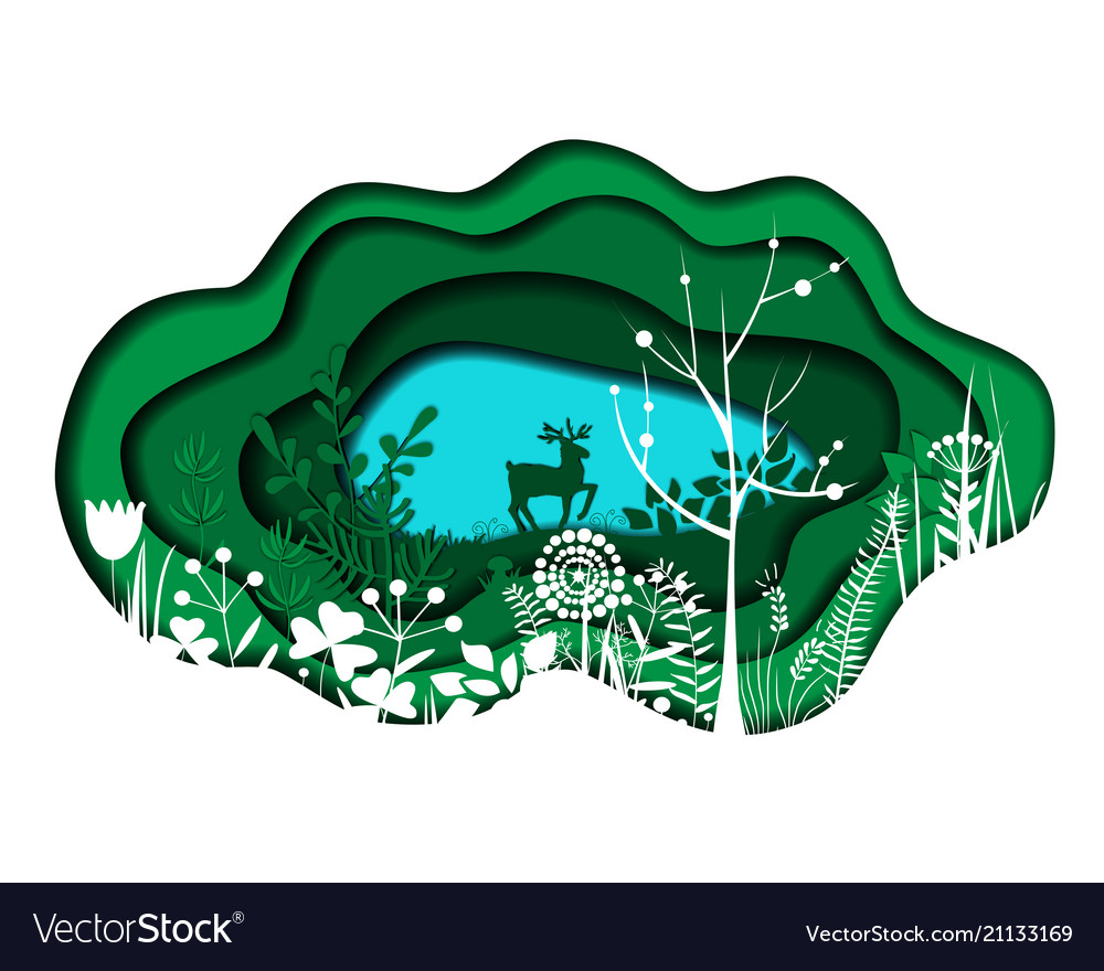 Paper cut landscape with lake trees and deer