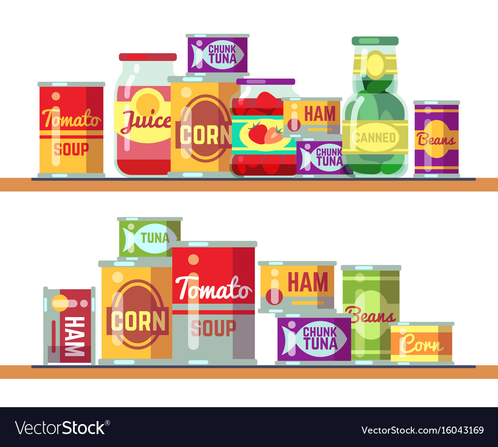 Red tomato soup and canned food vector image