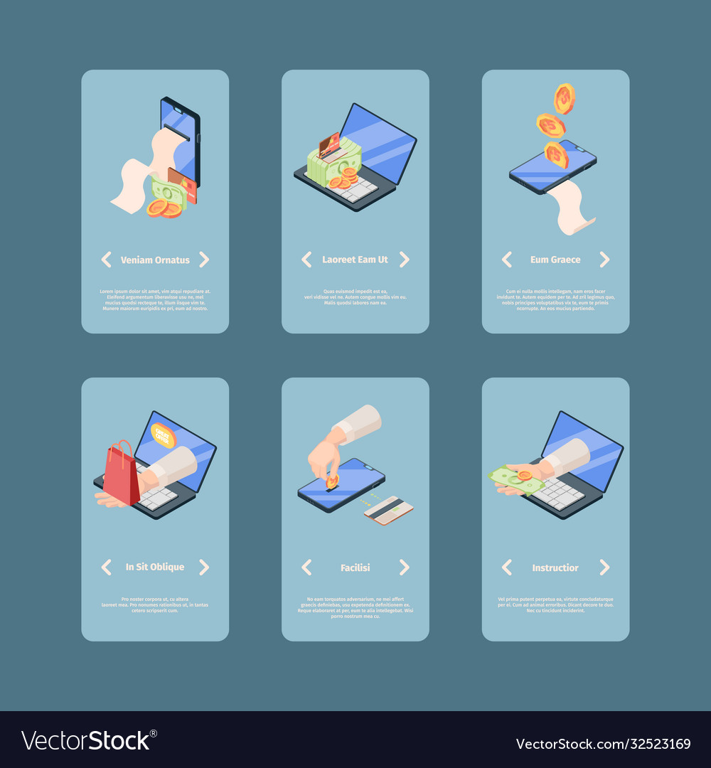 Screens online payment application isometric