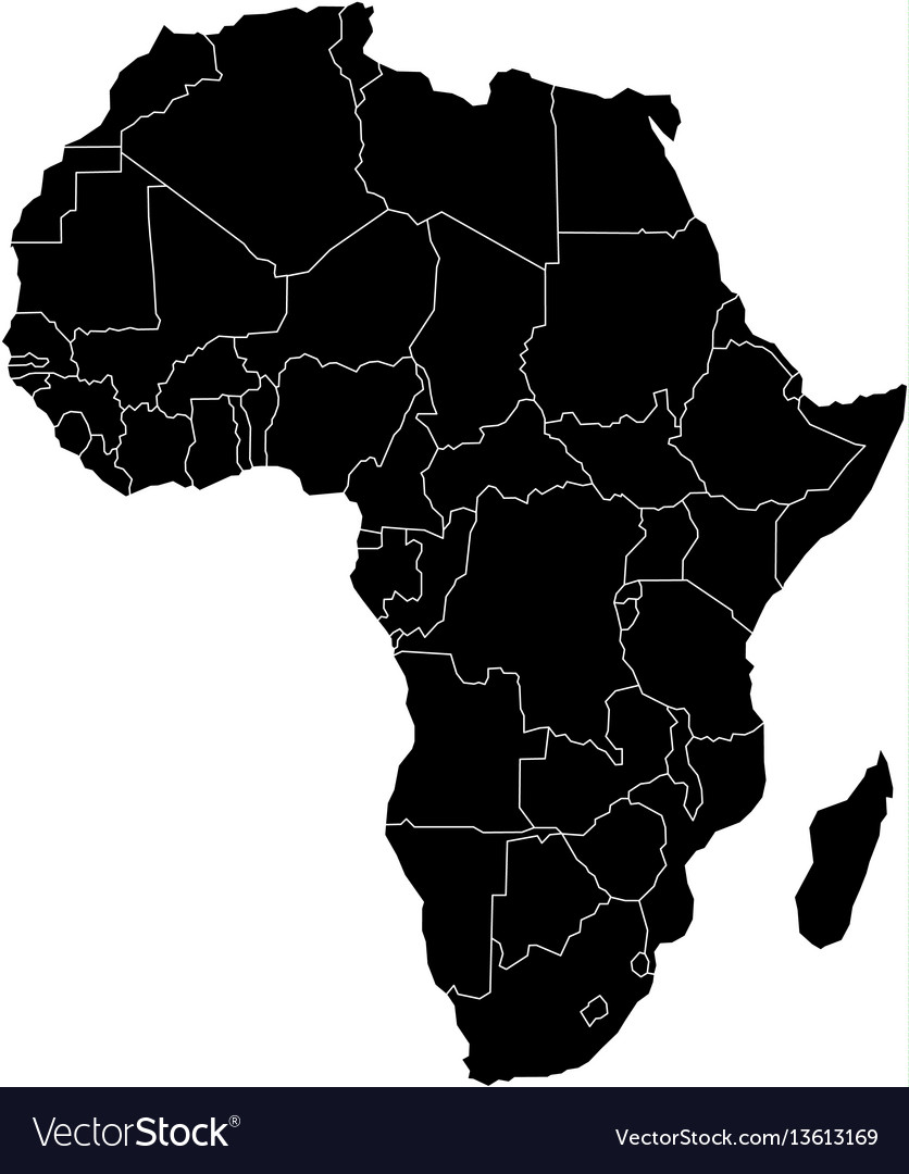 Simple flat black map of africa continent with