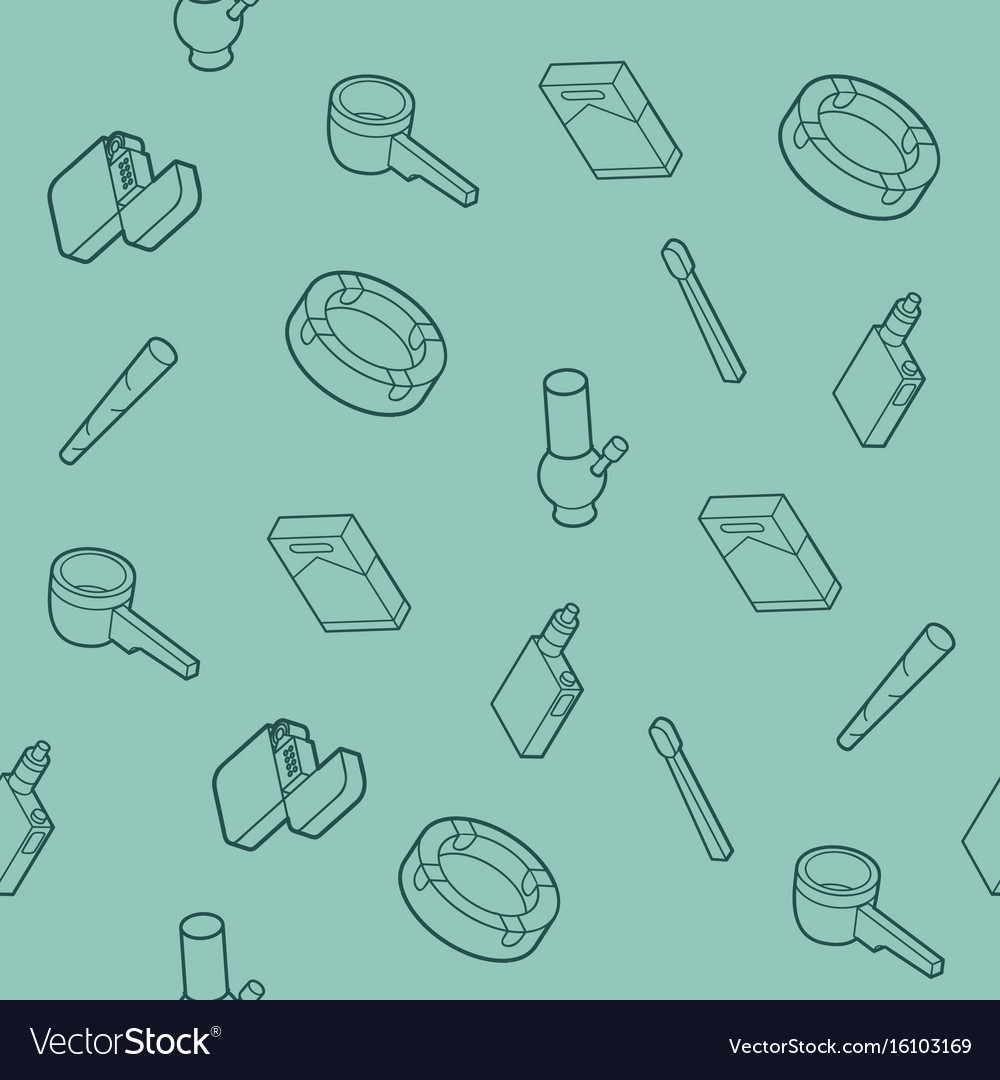 Smoking flat outline isometric pattern