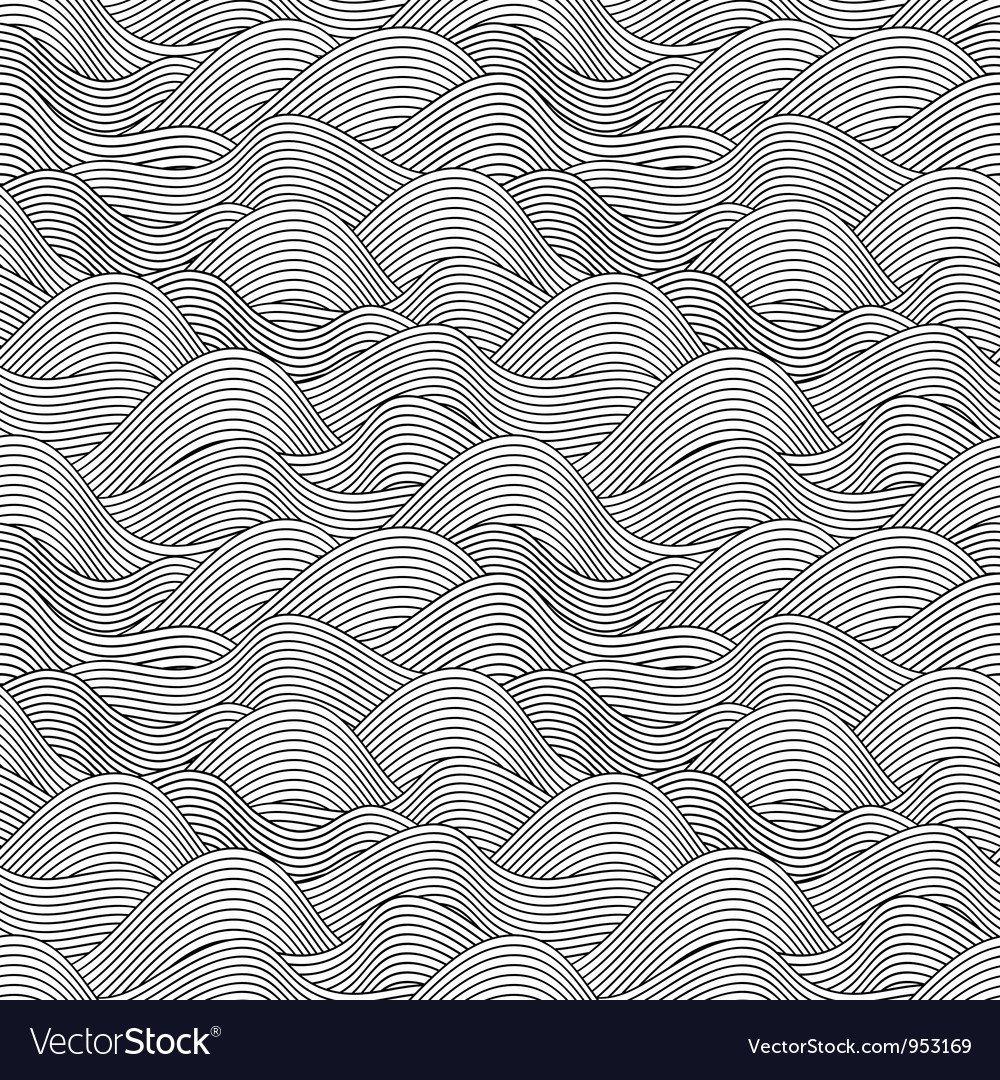 Wave Sketch Seamless Pattern