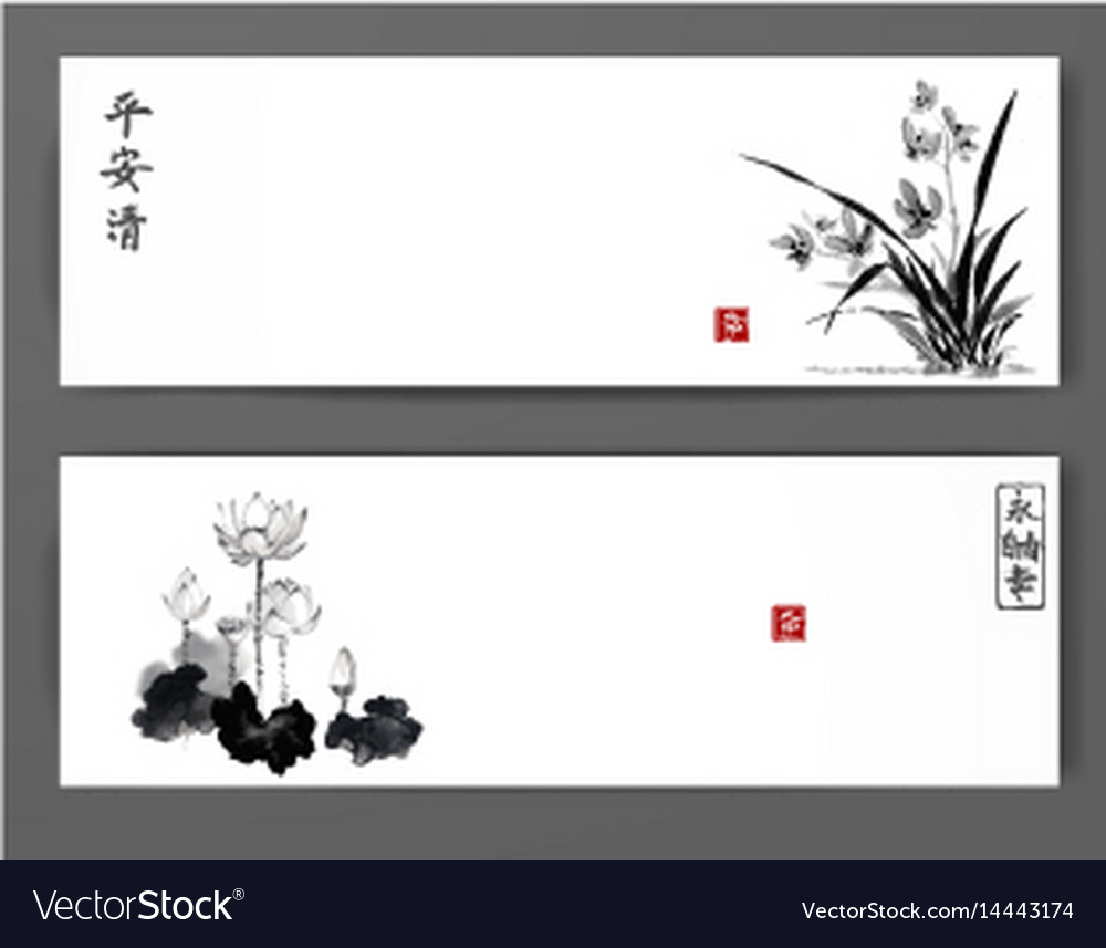 Banners with wild orchid and lotus flowers on vector image
