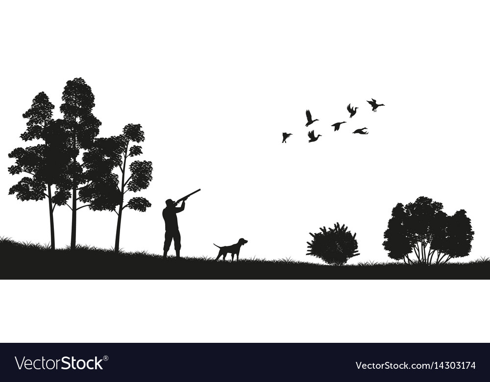 Black silhouette of a hunter with a dog in forest