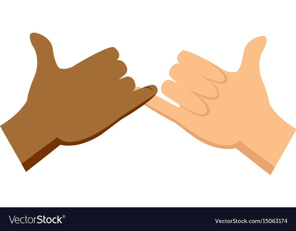 Cartoon Hands Pinky Promise Gesture Image Vector Image