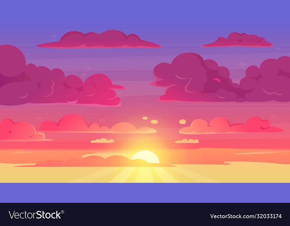 Cartoon sunset sky gradient violet and yellow sky