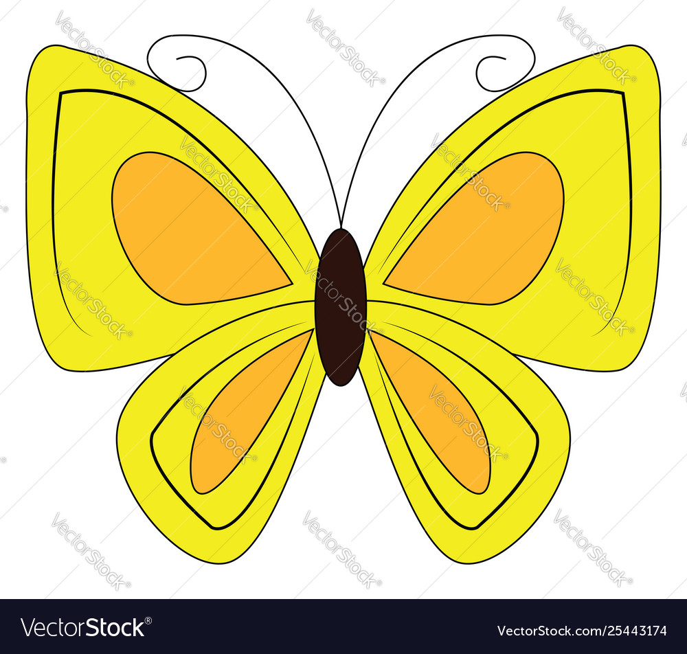 Butterfly yellow. Clipart a colored or