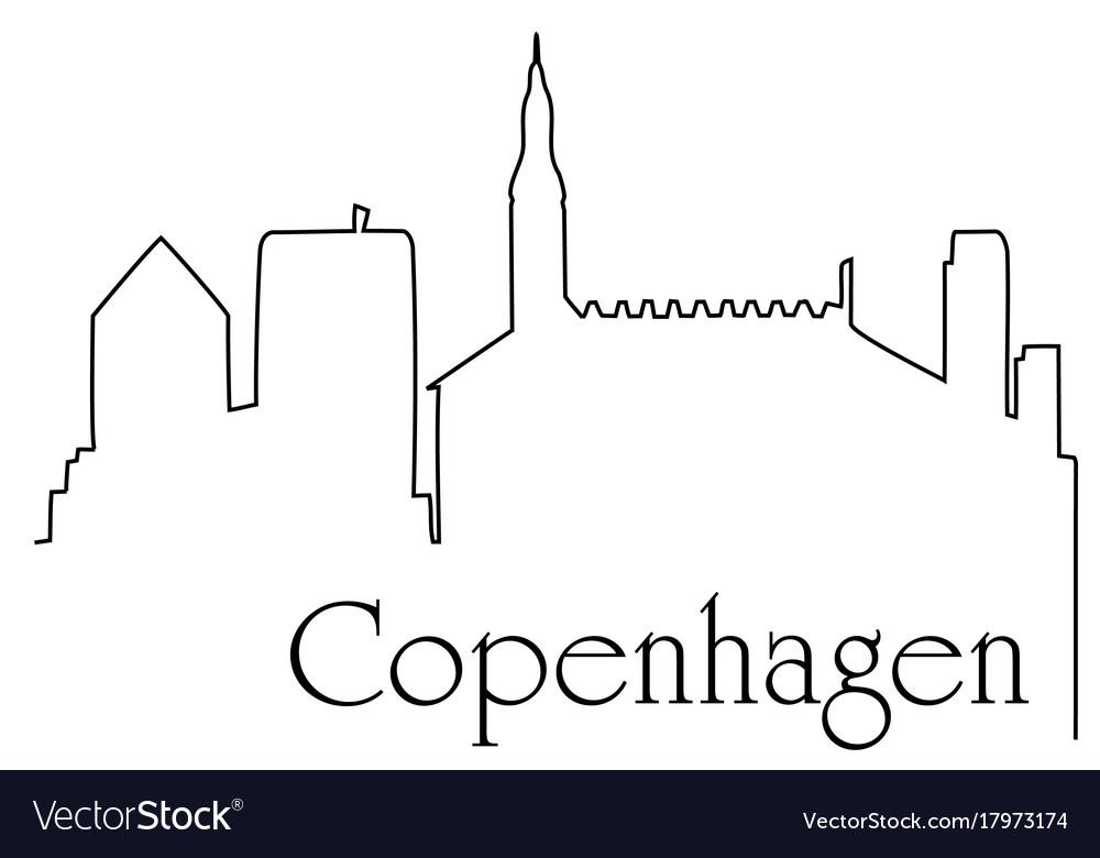 Copenhagen city one line drawing background