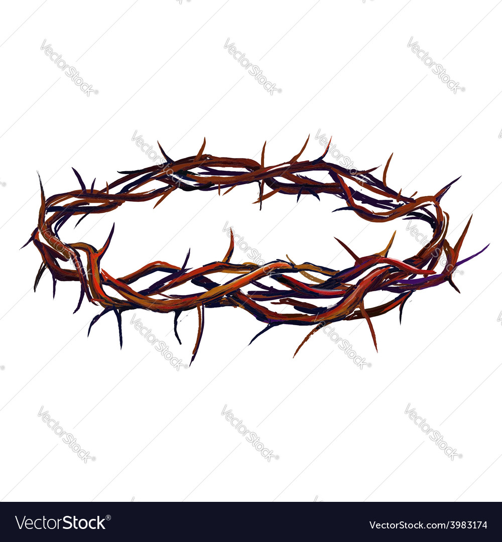 Crown of thorns hand drawn vector image
