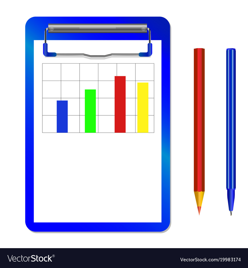 Folder with clip with diagram and color pencil