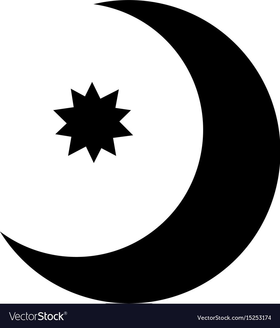 half moon with star con royalty free vector image rh vectorstock com moon vector eps moon vector eps