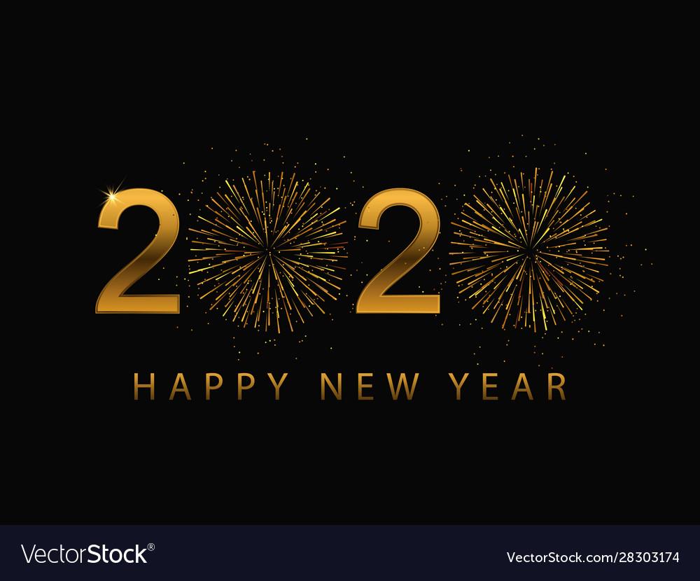 Happy 2020 new year golden banner