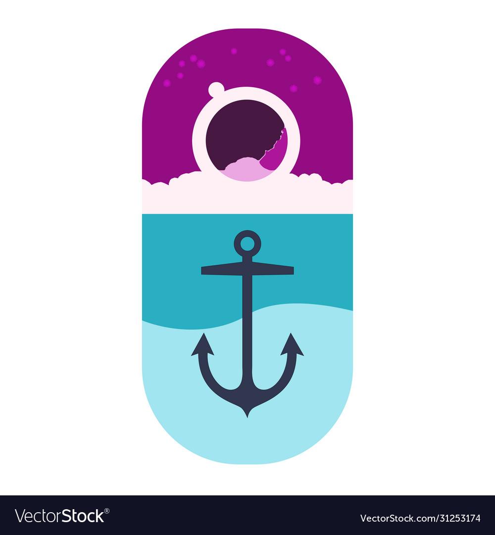 Logo marine anchor on background sea