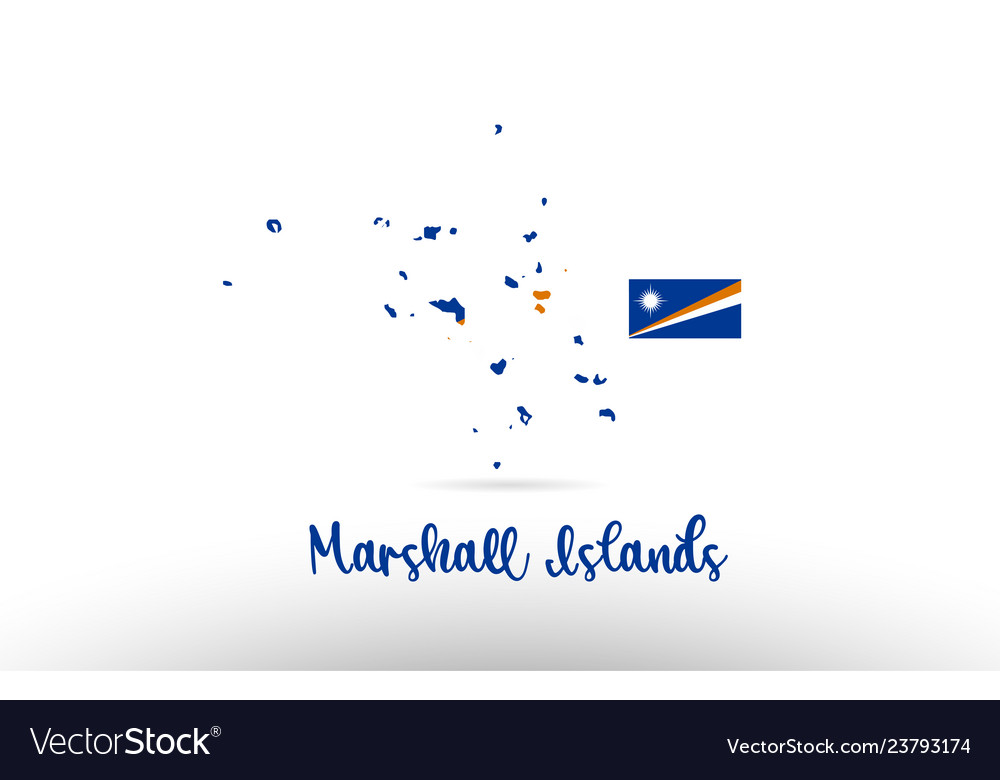 Marshall islands country flag inside map contour