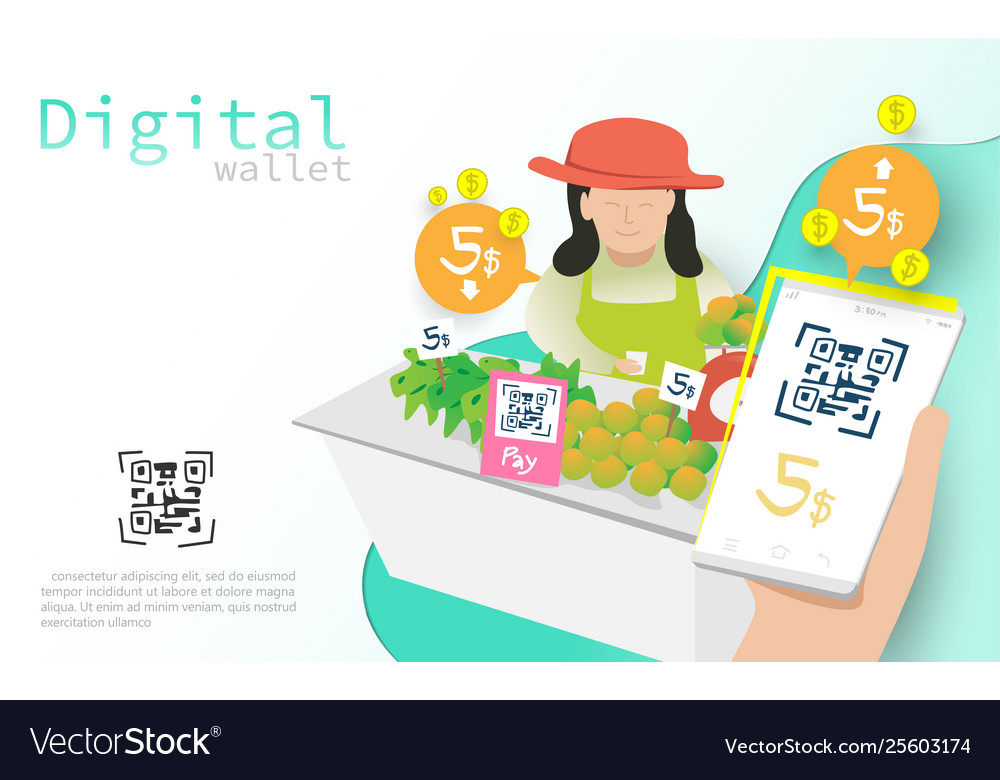 Mobile wallet payment with qr code concept