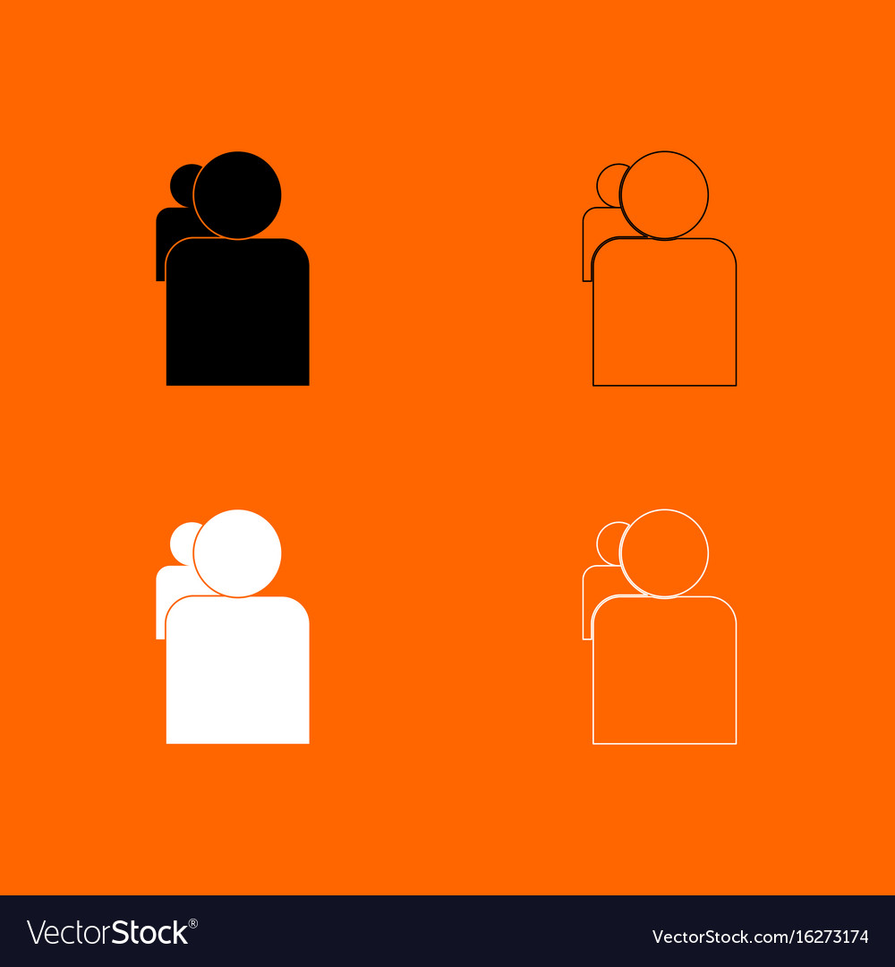 People or two avatar black and white set icon vector image