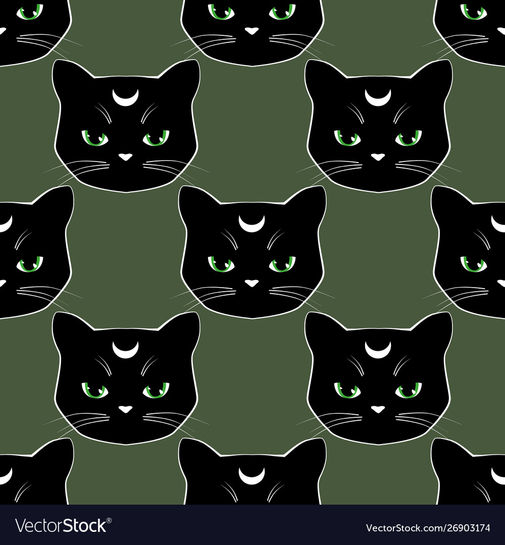 Seamless pattern background with black cat faces