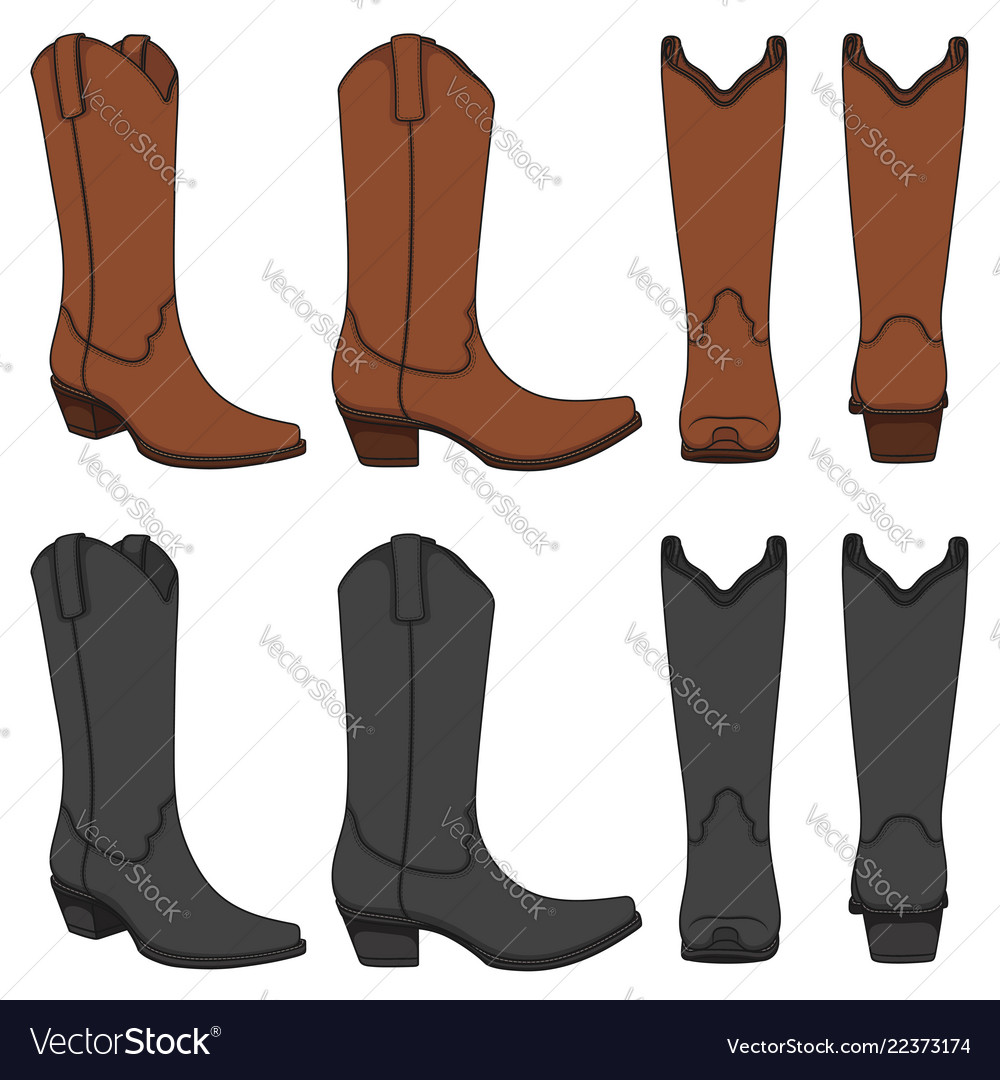 Set of color with cowboy boots