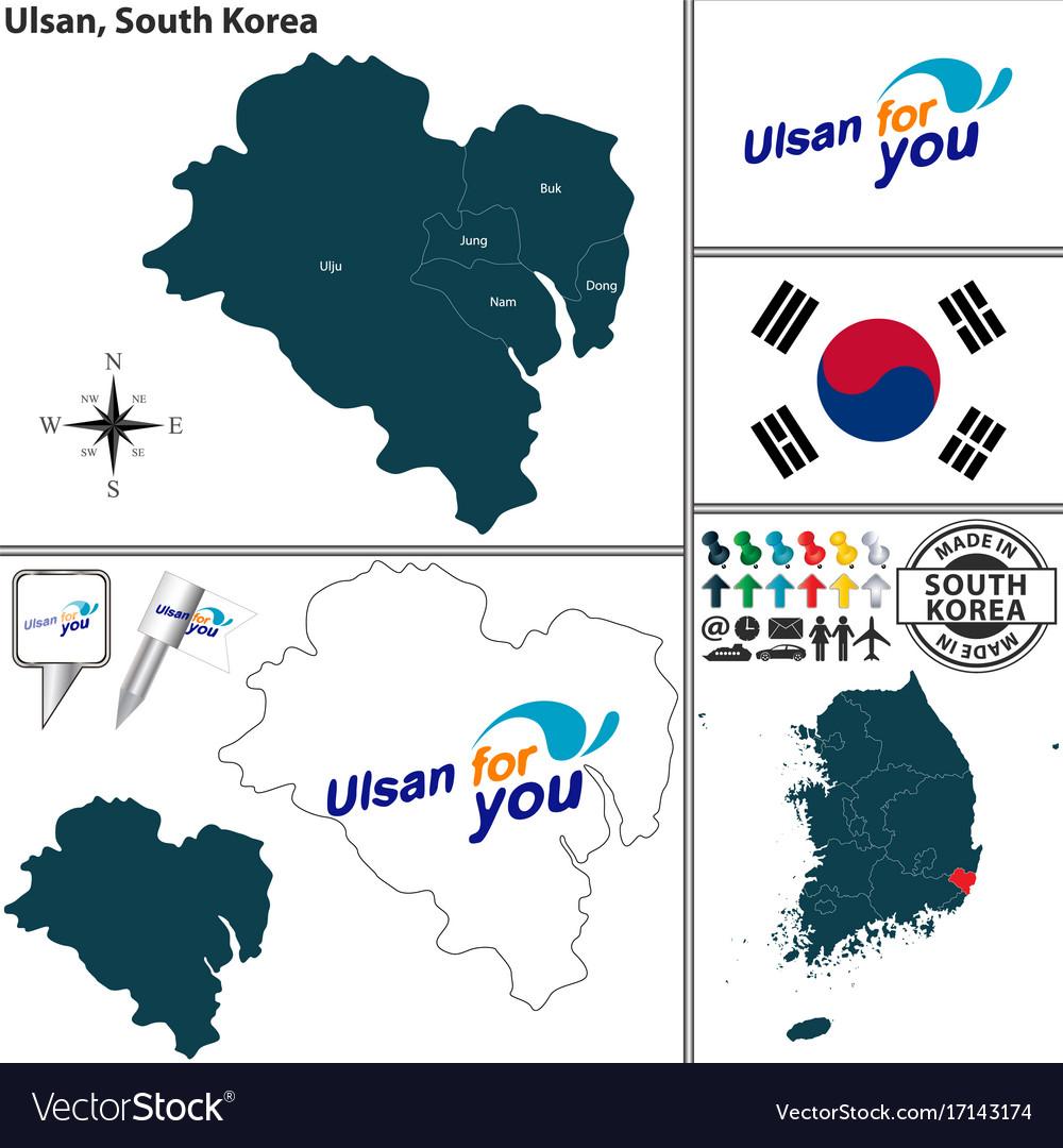 Ulsan Korea Map.Ulsan Metropolitan City South Korea Royalty Free Vector