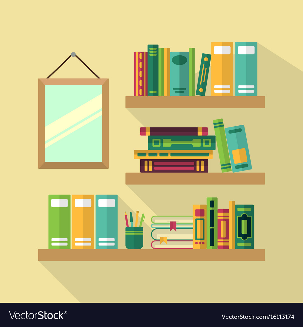 Wood bookshelf in library with different books